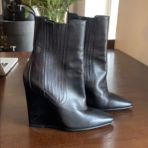 Alexander Wang Heidi Pointed Toe Black Wedge Boot